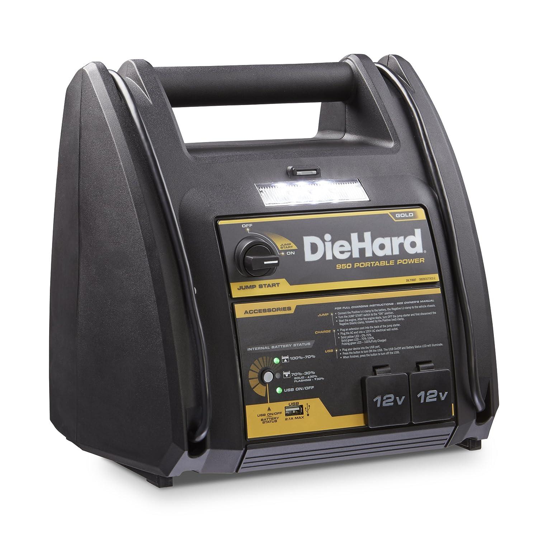 Diehard 71687 Gold Portable 950 Peak Amp 12 Volt Jump To 37 30 Power Supply Starter Source With 1 Usb 2 12v Ports 150 Psi Air Compressor Automotive