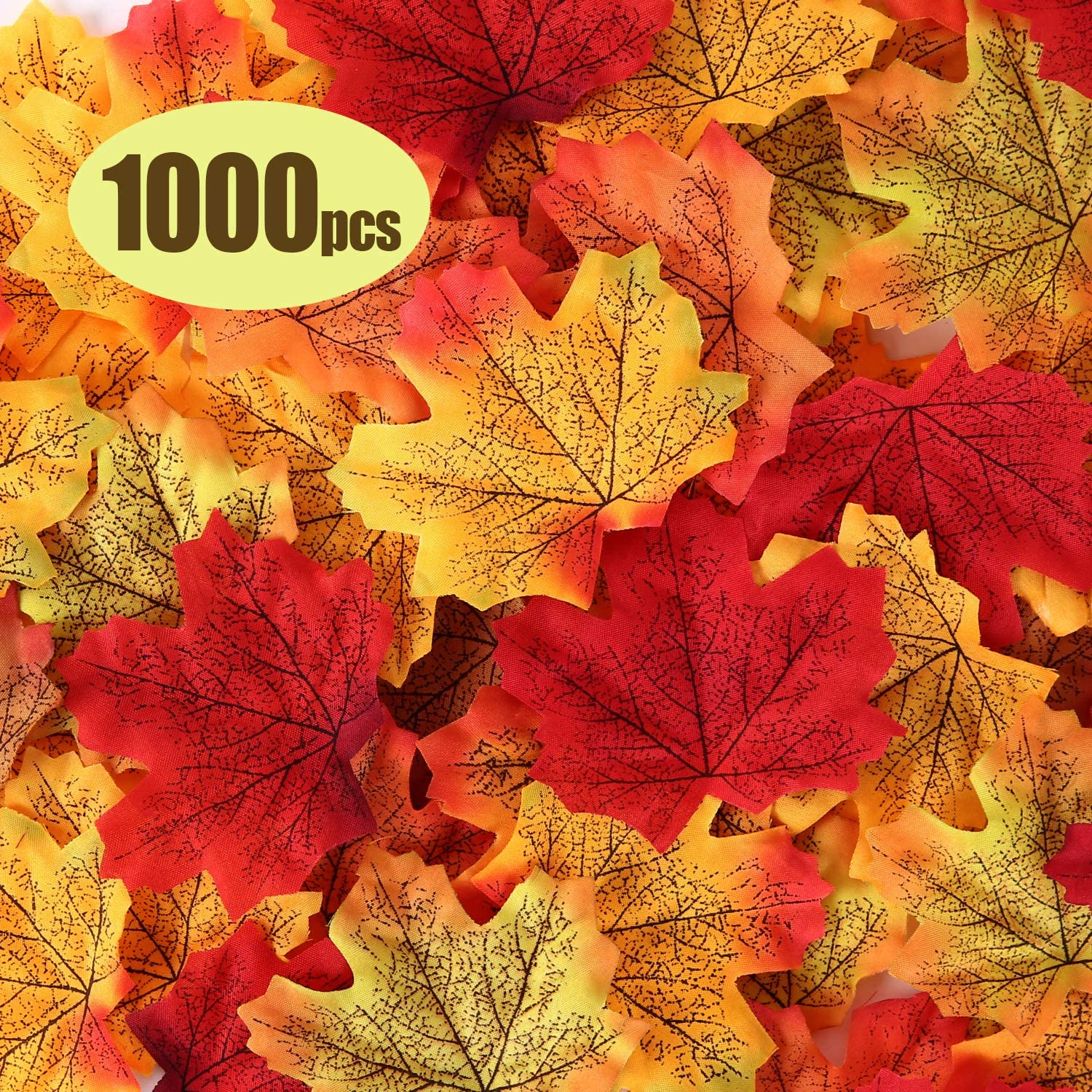 Ohuhu 1000 Pcs Artificial Maple Leaves Fake Fall Autumn Leaf for Thanksgiving Christmas Day, Wedding Party Festival Events Indoor Outdoor Home Kitchen Living Room Decor,10 Colors, Mixed