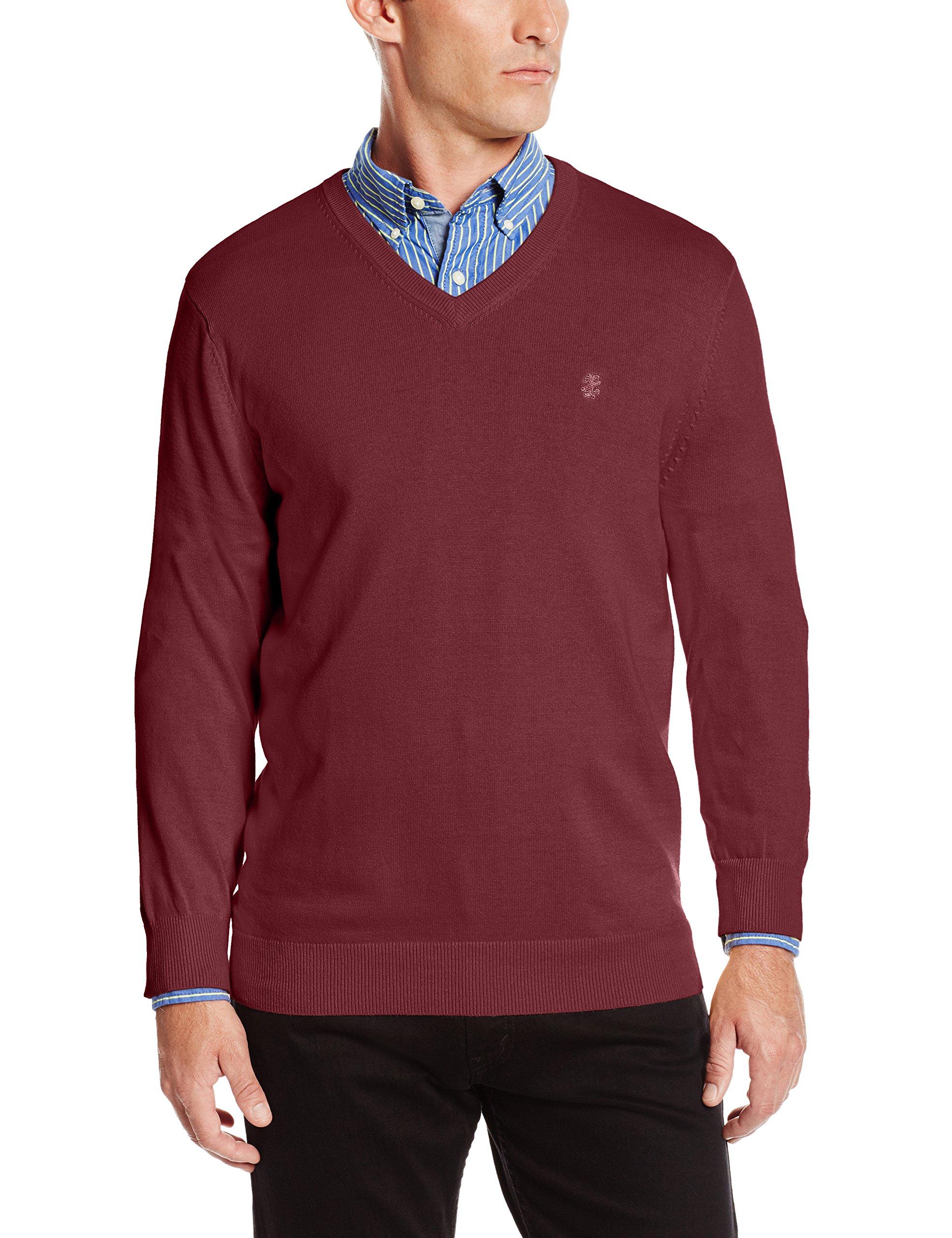 IZOD Men's Fine Gauge Solid V-Neck Sweater, Biking Red, X-Large
