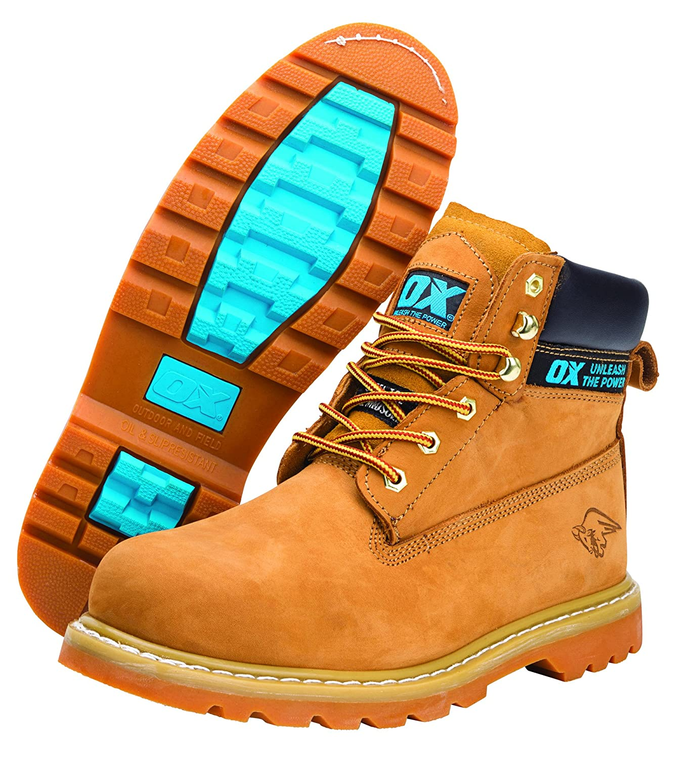 f4752f89d1d OX Safety Boots - Industrial Grade Honey Nubuck Safety Boots with Steel Toe  Cap - Tan - Size 9