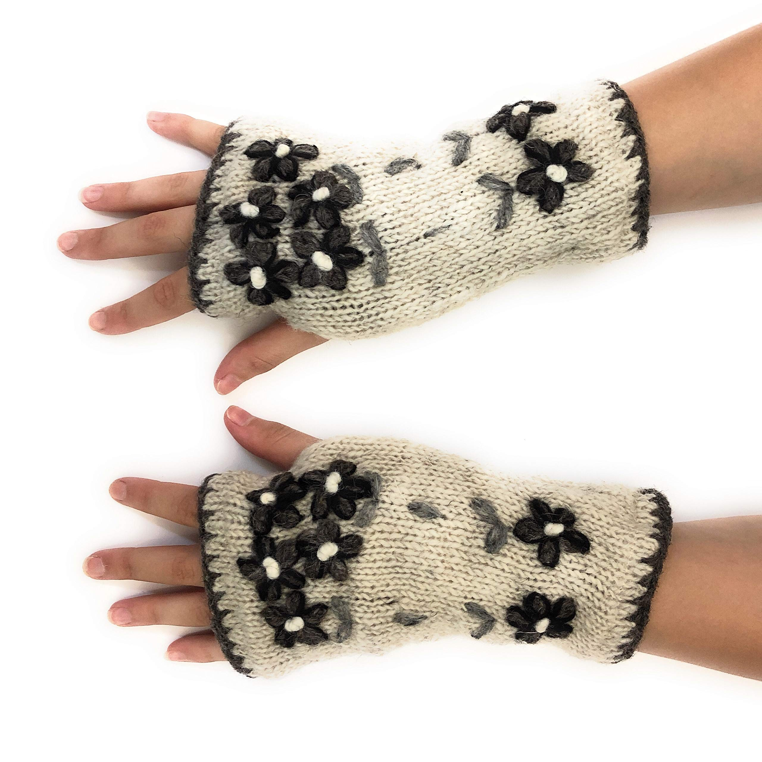 Hand Knit Fingerless Embroidered Flower Winter Wool Texting Gloves Mittens Warm Fleece Lined (Natural)