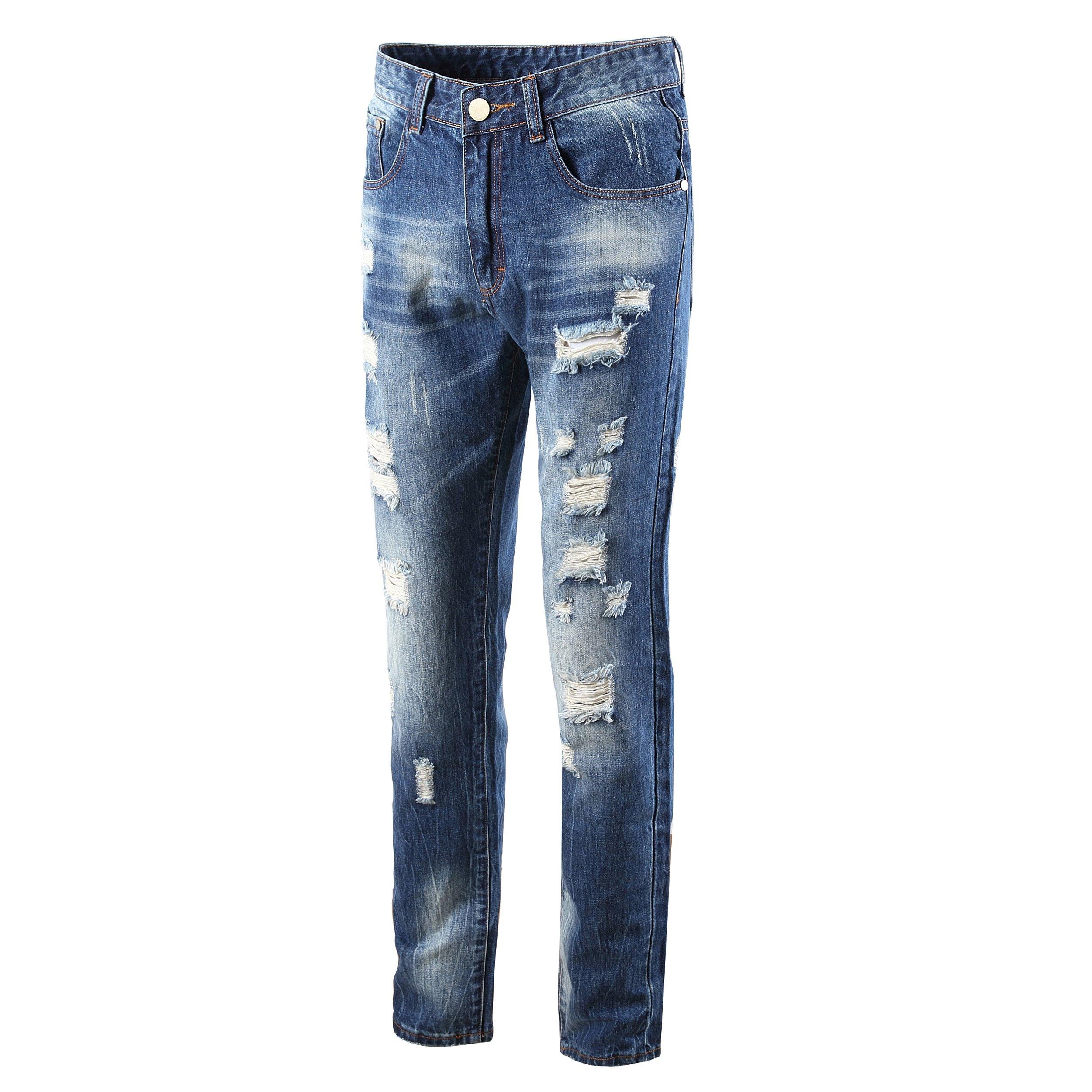 DAVID.ANN Men's Straight Fit Distressed Ripped Denim Jeans,Blue,32 by DAVID.ANN (Image #3)