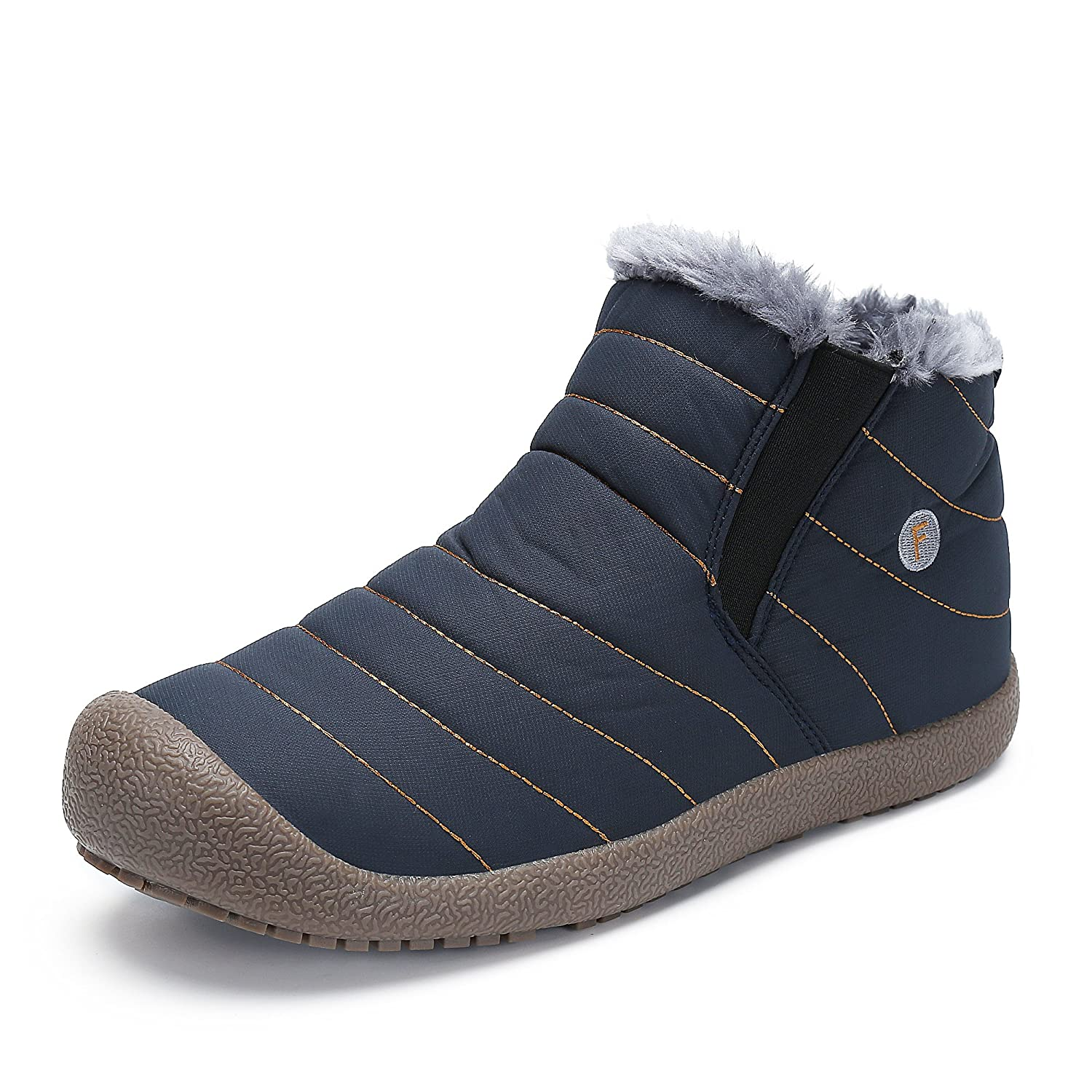 Men's Fashion Ankle Bootie Womens Fully Fur Winter Snow Boots Warm Sneaker Shoes Cold-Weather