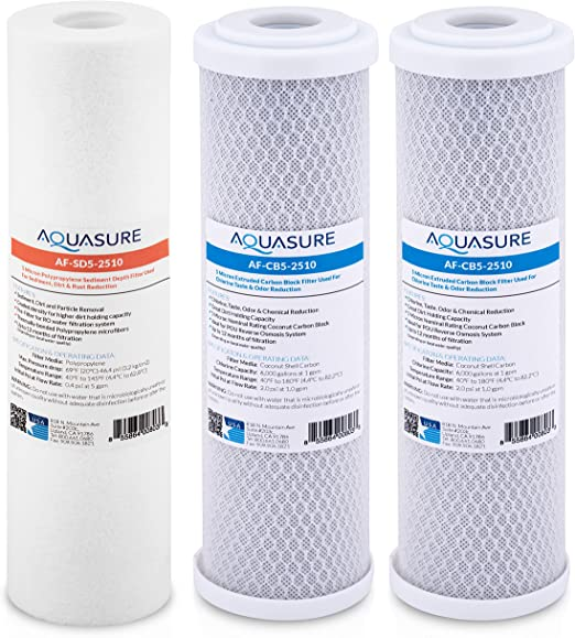 "Aquasure Pioneer 1 Micron Coconut Shell Carbon Block Water Filter 10/"" 10X"