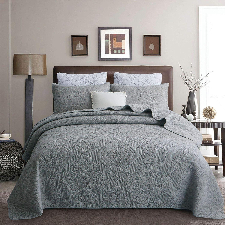 Amazon Com Brandream Luxury Gray Bedding Set 3 Piece Quilted