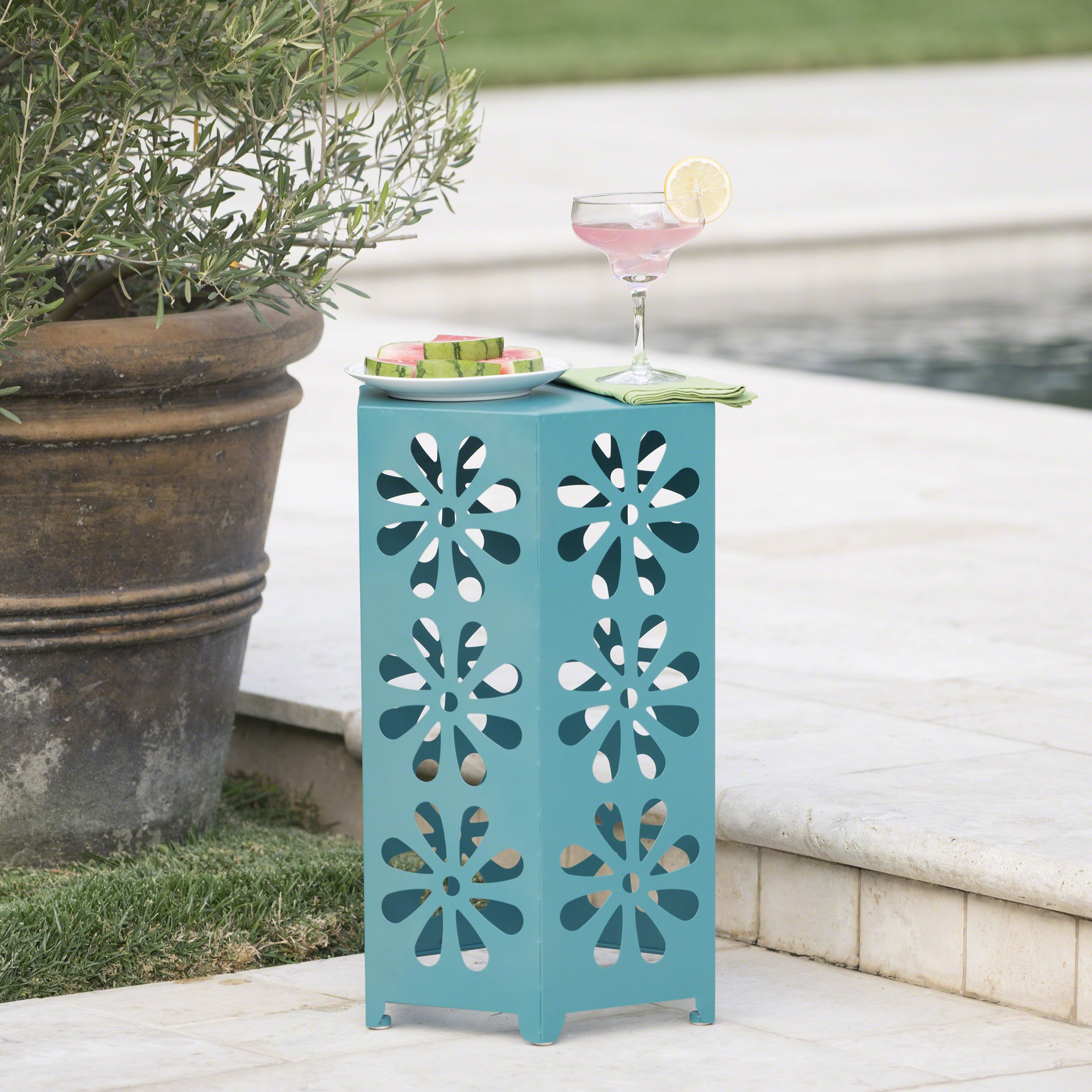 Danbury Outdoor 14 Inch Matte Teal Iron Floral Side Table