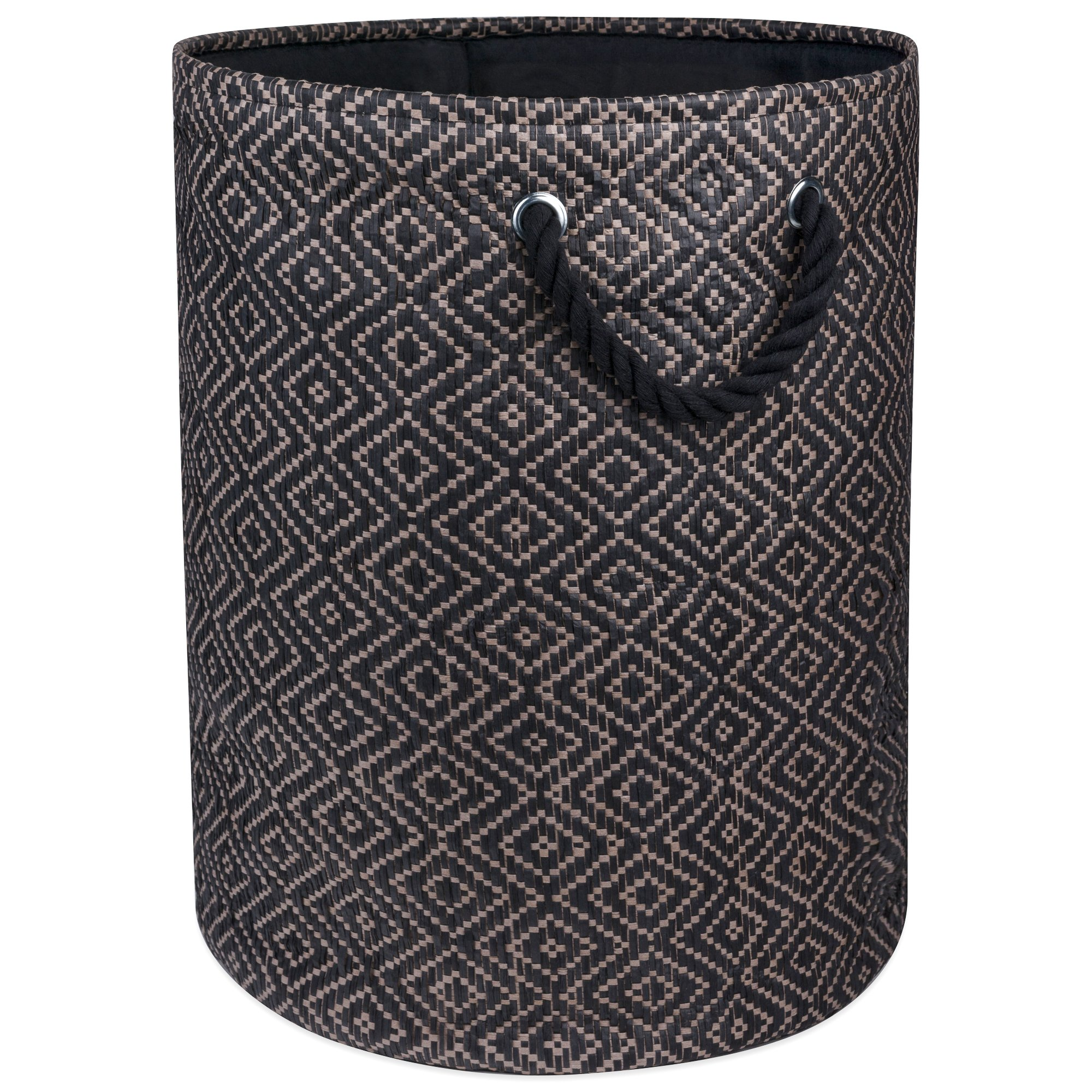 "DII Woven Paper Basket or Bin, Collapsible & Convenient Home Organization Solution for Bedroom, Bathroom, Dorm or Laundry (Medium Round - 14x17""), Brown & Black Diamond Basketweave"