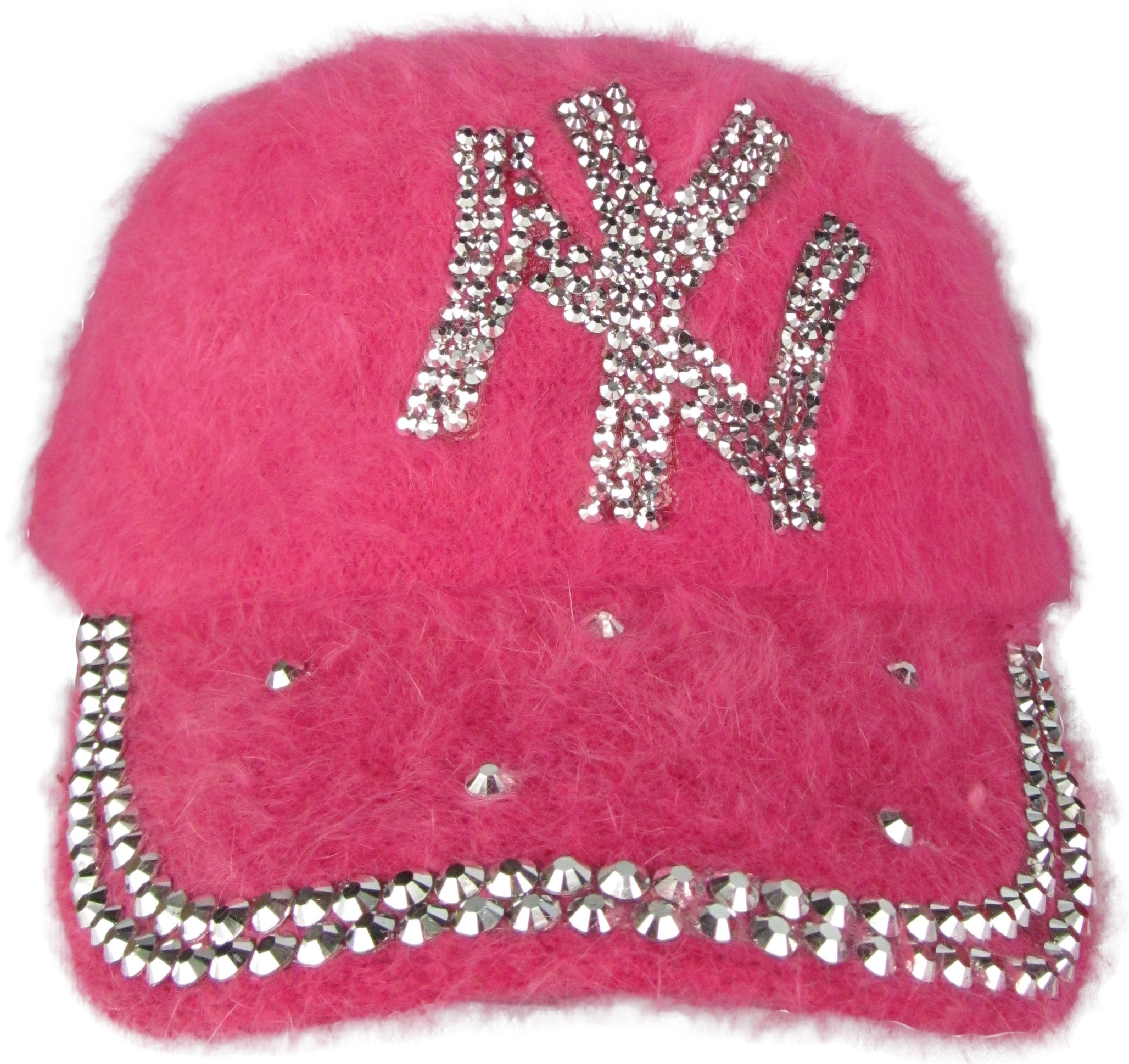 J.Ann Ladies Angora Military Cadet Style Hat with NY Rhinestones-Fuschia