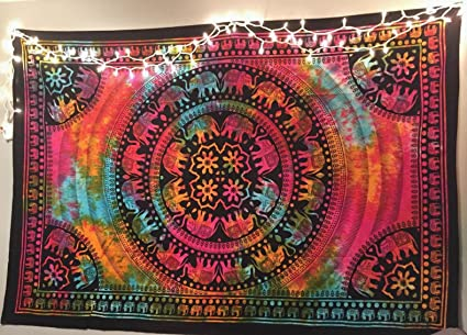 287941de9943 Colorful Tapestry Psychedelic Tie Dye Elephant Mandala Tapestry wall hanging  Hippie Mandala Tapestries Indian Cotton Dorm