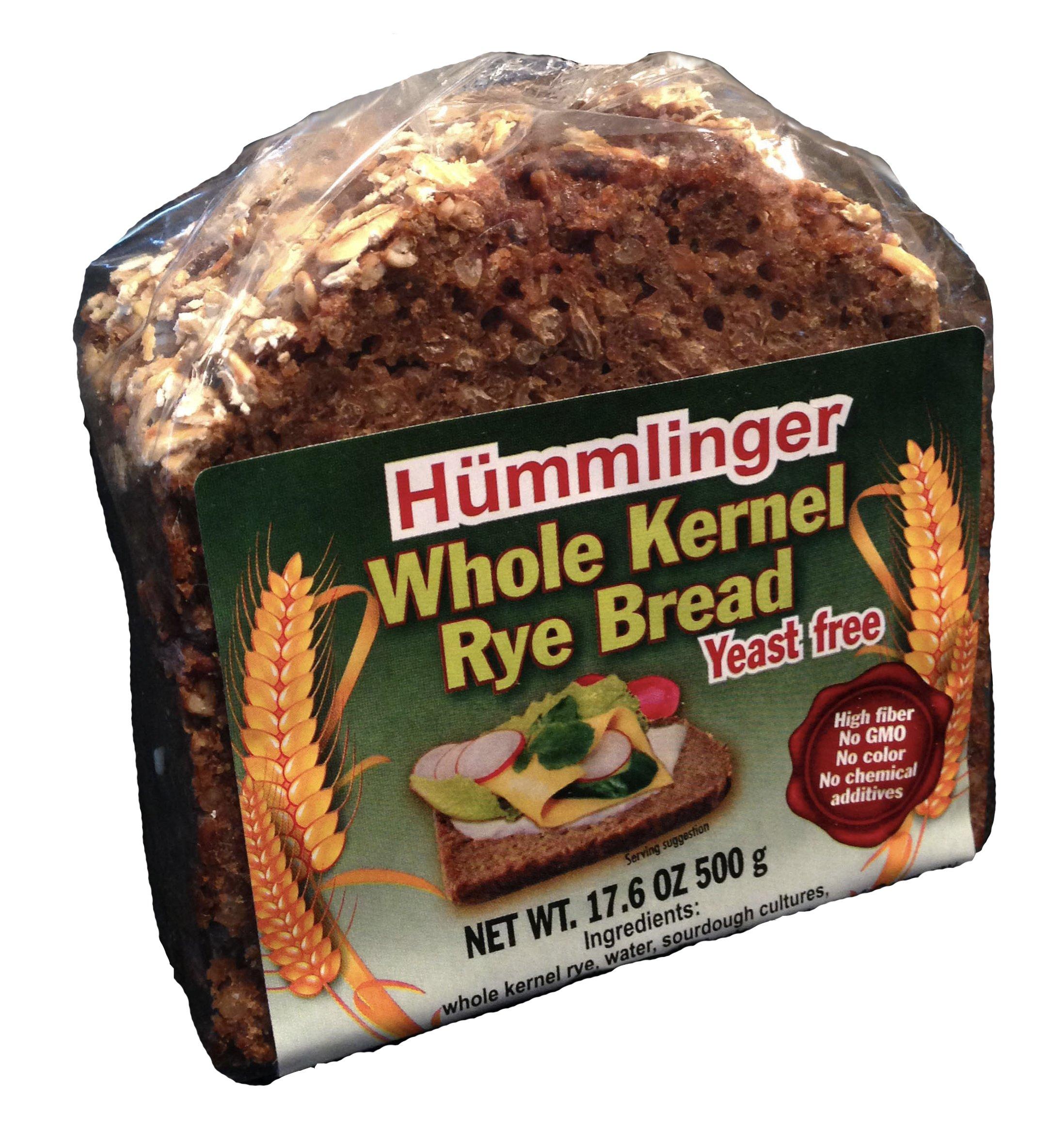 Hummlinger Yeast Free Whole Kernel Rye Bread, GMO FREE 17.6 oz (6 packs)