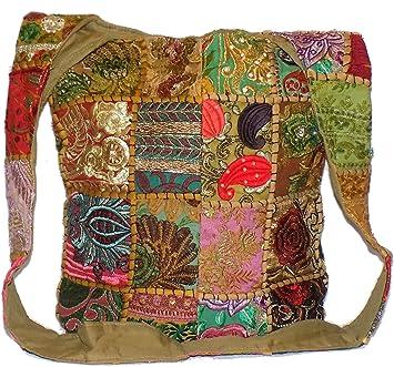 d959986187 Patchwork Hippie Bag (U1649) Beige Antique Gold Khaki Brown   Multi Colour  Patch Sequin