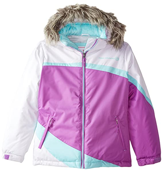 Free Country Little Girls' Heavyweight Coat with Colorblock, Lilac Jewel, Medium/5/6