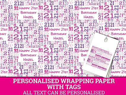 Image Unavailable Not Available For Colour Pink Happy 21st Birthday Personalised Wrapping Paper