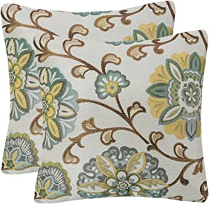 YUKORE Pack of 2 Simpledecor Throw Pillow Covers Decorative Pillow Cases, 20X20 Inches, Jacquard Floral Pattern, Teal Brown Cream