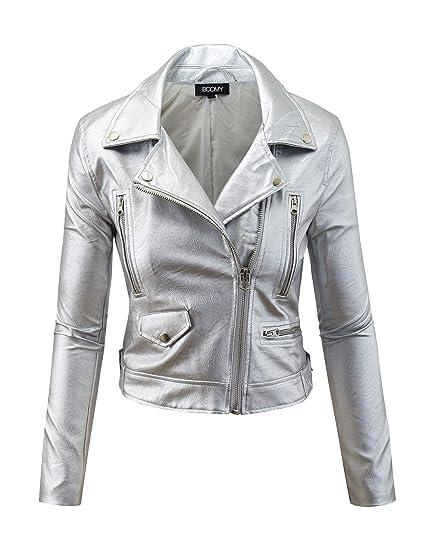 Cropped Motorcycle Biker Coat Buckle FASHION BOOMY Women/'s Faux Leather Jacket