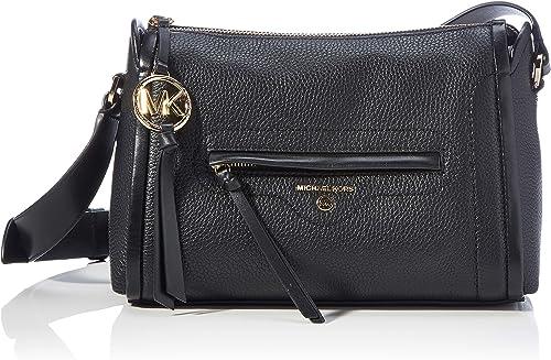 Michael Kors, Carine Grand sac bandoulière en cuir Pebbled Femme, noir,  Large