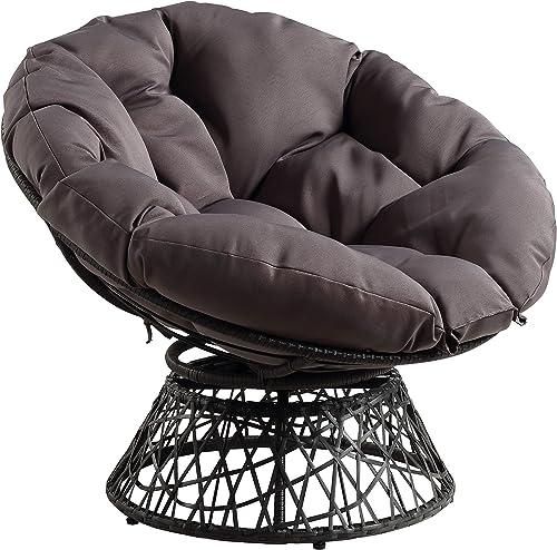 Best living room chair: OSP Home Furnishings Wicker Papasan Chair