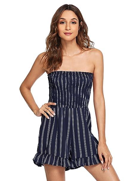 33dc8c48d7d1 Amazon.com  Floerns Women s Sleeveless Striped Print Ruffle Hem Tube ...