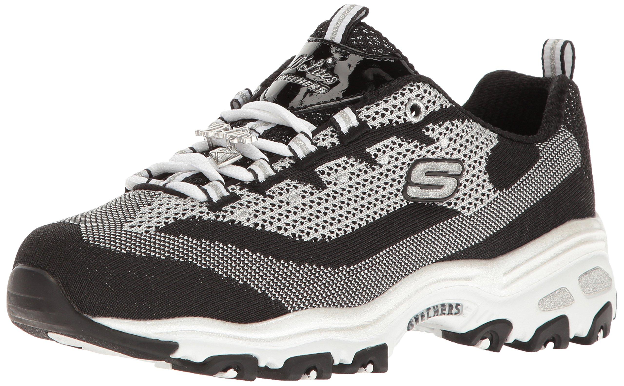 Skechers Sport Women's D'Lites Memory Foam Lace-up Sneaker,Black White Shine,5.5 M US