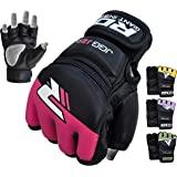 RDX MMA Gloves Kids Grappling Martial Arts Sparring Punching Bag Junior Cage Fighting Youth Maya Hide Leather Mitts Children UFC Combat Training