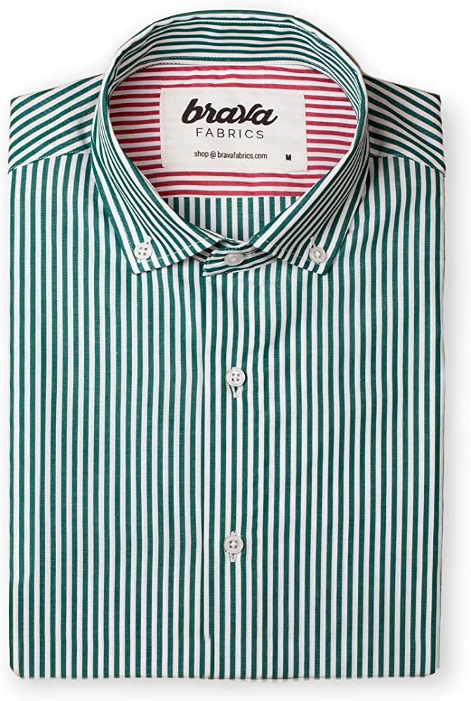 Brava Fabrics | Camisa Hombre Manga Larga Estampada | Camisa Verde para Hombre | Camisa Casual Regular Fit | 100% Algodón | Modelo Green Kodak Stripes Essential | Talla XL: Amazon.es: Ropa y accesorios