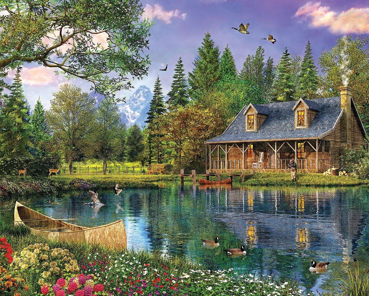 White Mountain Puzzles Mountain Cabin - 1000 Piece Jigsaw Puzzle