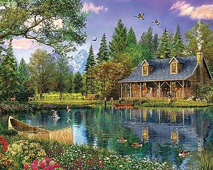 Amazon Com White Mountain Puzzles Mountain Cabin 1000 Piece Jigsaw Puzzle Toys Games
