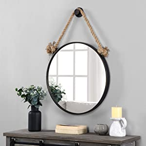 FirsTime & Co. Dockline Round Mirror, American Crafted, Oil Rubbed Bronze, 22 x 2 x 33.5