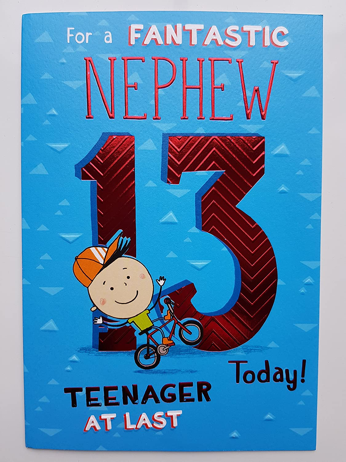 Fine Icg Nephew 13Th Birthday Card Young Boy Bicycle Giant Red Funny Birthday Cards Online Alyptdamsfinfo