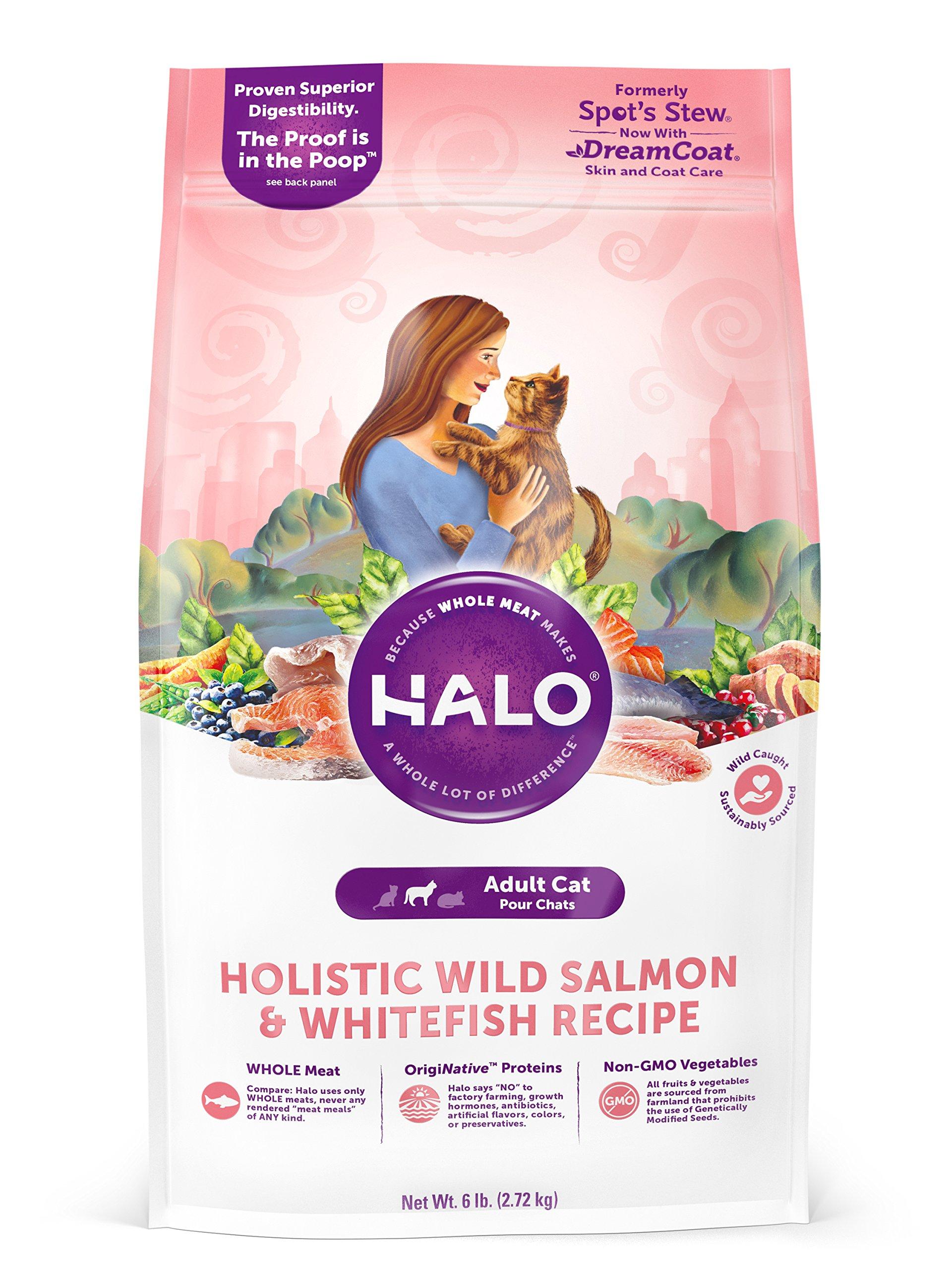 Halo Natural Dry Cat Food, Wild Salmon & Whitefish Recipe, 6-Pound Bag
