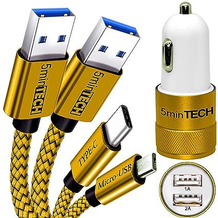 Amazon.com: Paquete de 3 [micro USB + tipo C + Cargador de ...
