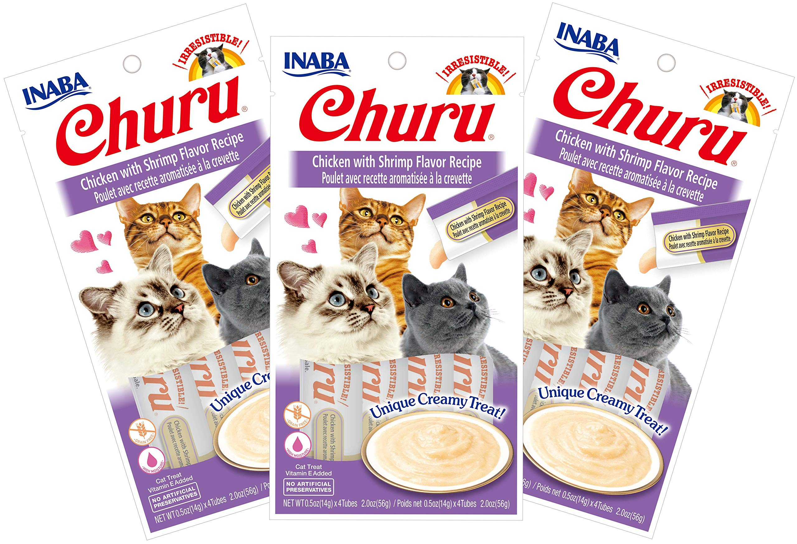 INABA Churu Chicken with Shrimp Flavor Recipe Lickable Purée Natural Cat Treats 12 Tubes