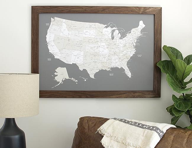 Amazoncom Walnut US Map Large Push Pin Travel Map Framed - Large framed us map