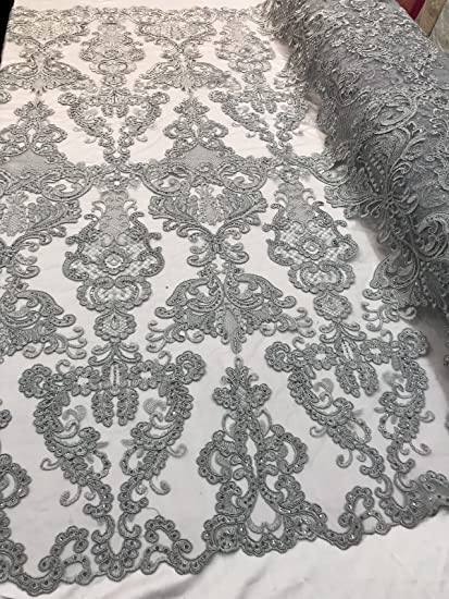Silver Mesh w// Embroidery Beaded Lace /& Sequins Fabric Sold by the Yard