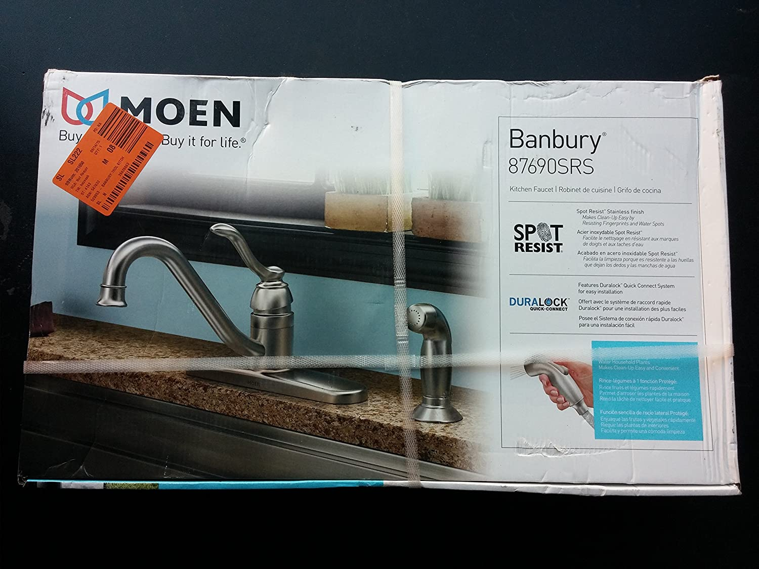 Moen 87690SRS Kitchen Faucet with Side Spray from the Banbury ...