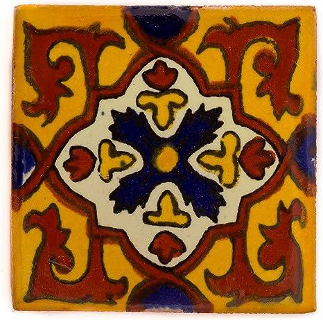 fait /à la main et /éthiquement n/égoci/é par Tumia LAC 10,5 cm Carrelage en c/éramique mexicaine Lot de 10