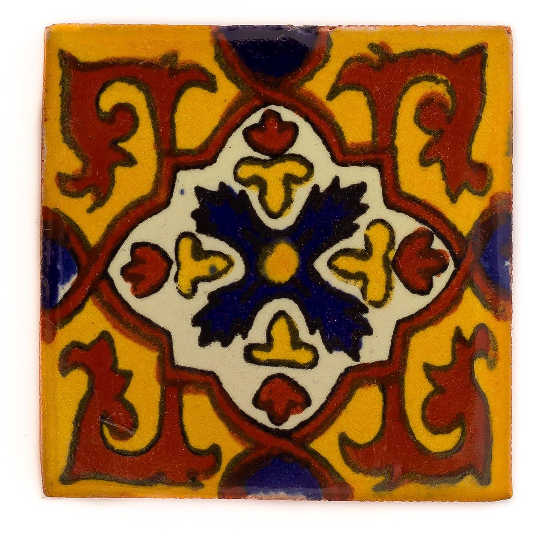 1 m/ètre carr/é 10,5 cm Lot de 90 Carrelage en c/éramique mexicaine fait /à la main et /éthiquement n/égoci/é par Tumia LAC