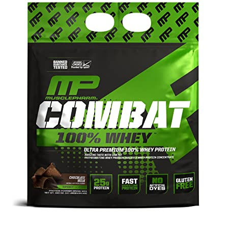 MusclePharm Combat 100 Whey, Muscle-Building Whey Protein Powder, 25 g of Ultra-Premium, Gluten-Free, Low-Fat Blend of Fast-Digesting Whey Protein, Chocolate Milk, 10-Pound, 141 Servings