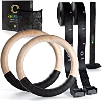ZenRings Wooden Gymnastic Rings, Athletic Rings with Door Anchor & Straps, CrossFit Workout Equipment for Home…