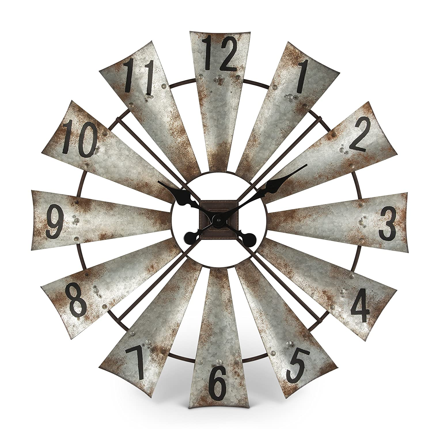 Amazon rustic metal round windmill wall clock 30 home kitchen amipublicfo Images