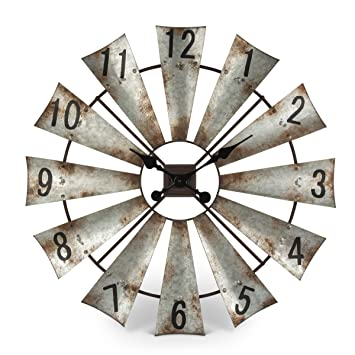 Metal Windmill Wall Clock Lakeside Collections SYNCHKG095654