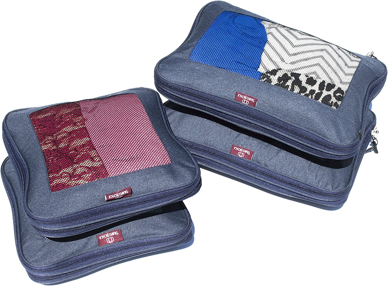 Compression Packing Cube Set By TravelBosca 2 Large 2 Medium Cubes 4 Piece Luggage Cubes for Organized Travel