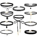 FIBO STEEL 8-10PCS Womens Black Velvet Choker Necklace for Girls Lace Choker Tattoo Necklace