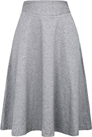 Kate Kasin Flared Stretchy Midi Skirt High Waist Jersey Skirt for Women