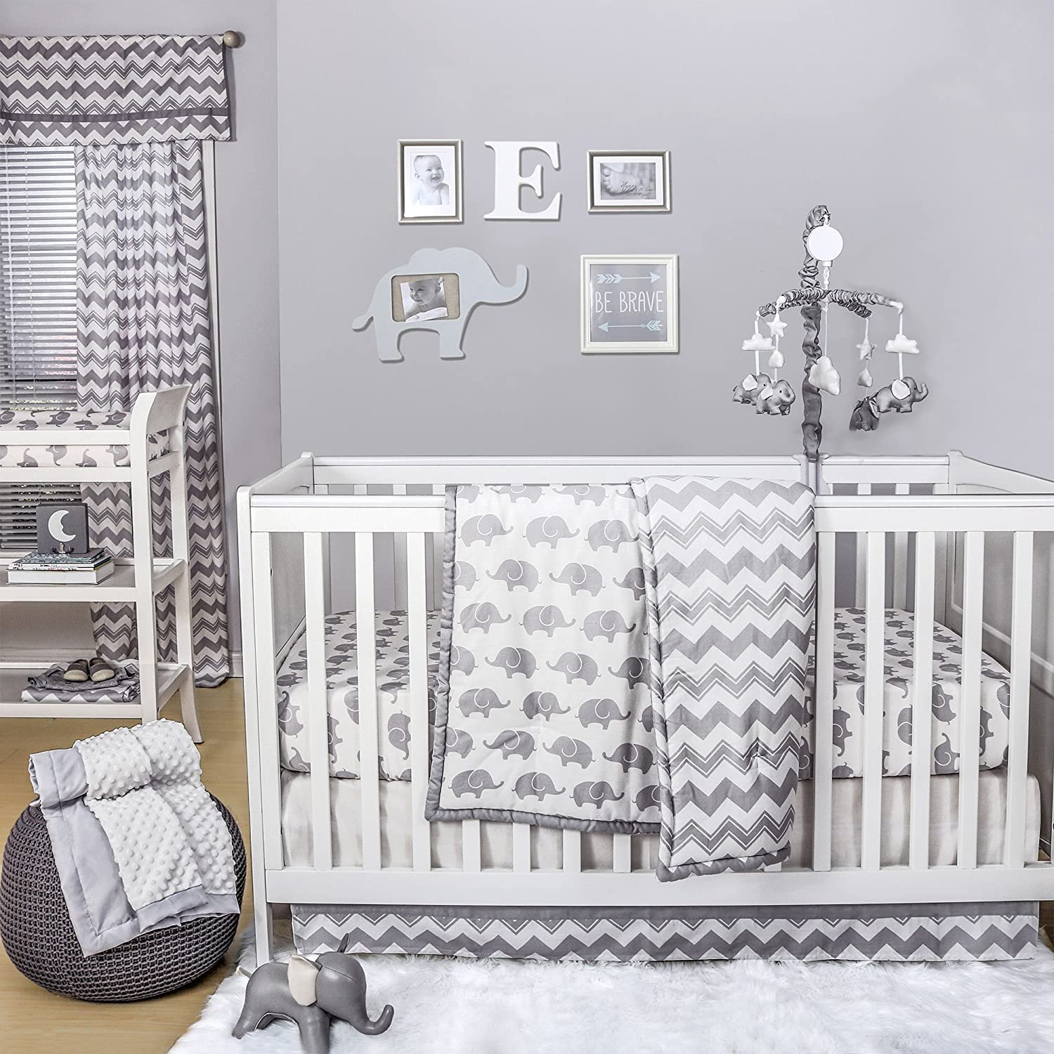 Amazon Grey Elephant and Chevron 4 Piece Baby Crib Bedding Set