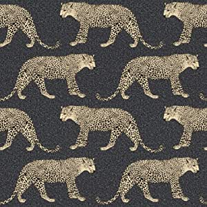 Rasch Leopard Wallpaper Black Gold Metallic Shimmer Animal Print Spots Feature