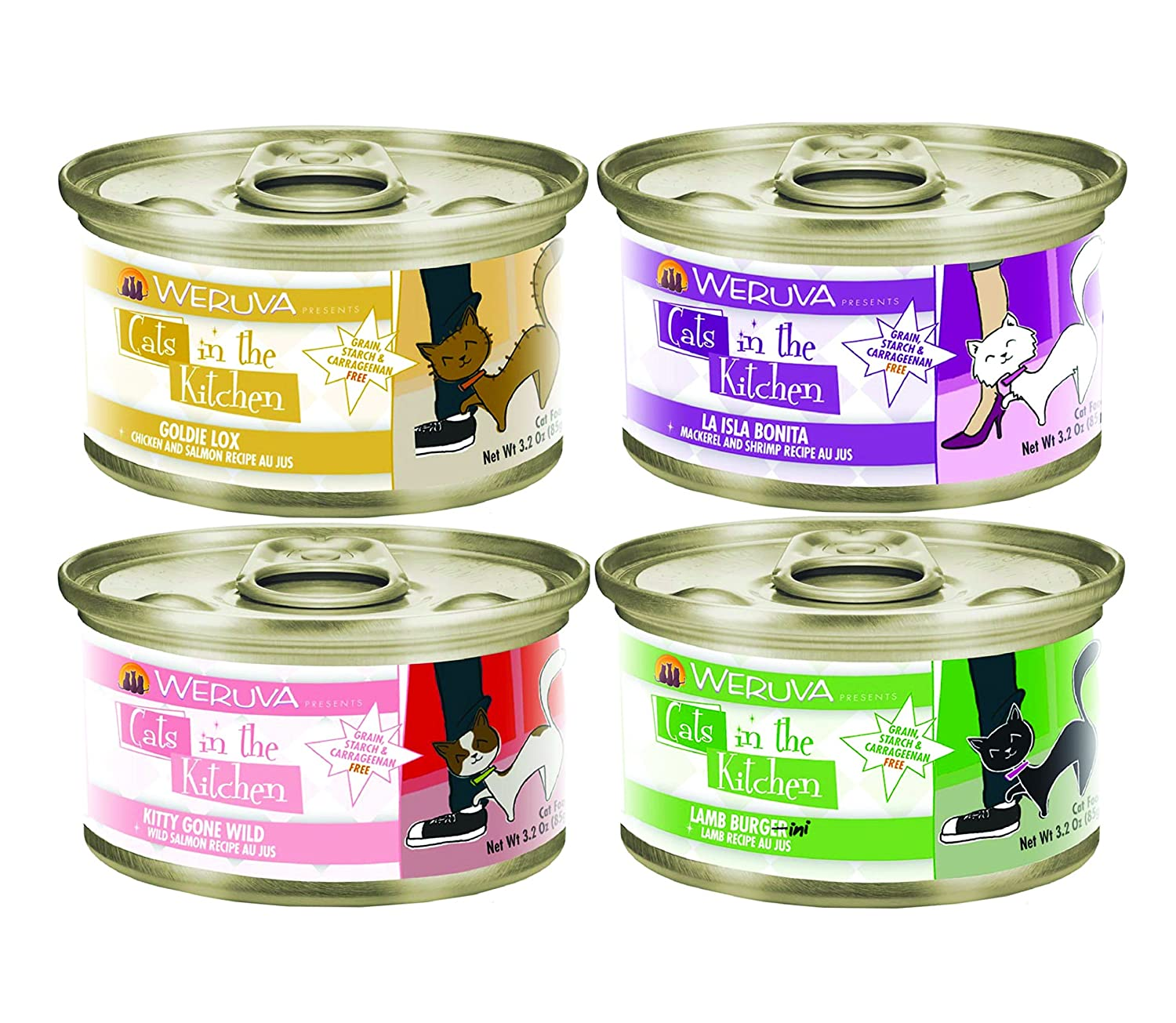 low-cost Weruva Cats in the Kitchen Canned Cat Food Mixed 3.2 oz x 24 cans with 4 Flavors – Goldie Lox, La Isla Bonita, Kitty Gone Wild, and Lamb Burgini Recipes