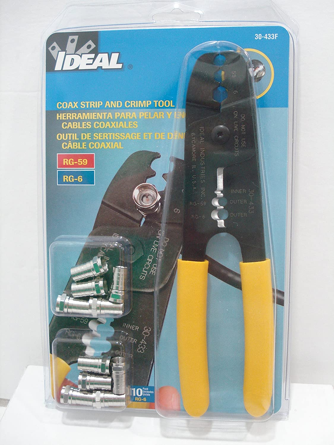 Ideal 30-433F Coax Strip and Crimp Tool with ten RG-6 F-Connectors: Crimpers: Amazon.com: Industrial & Scientific
