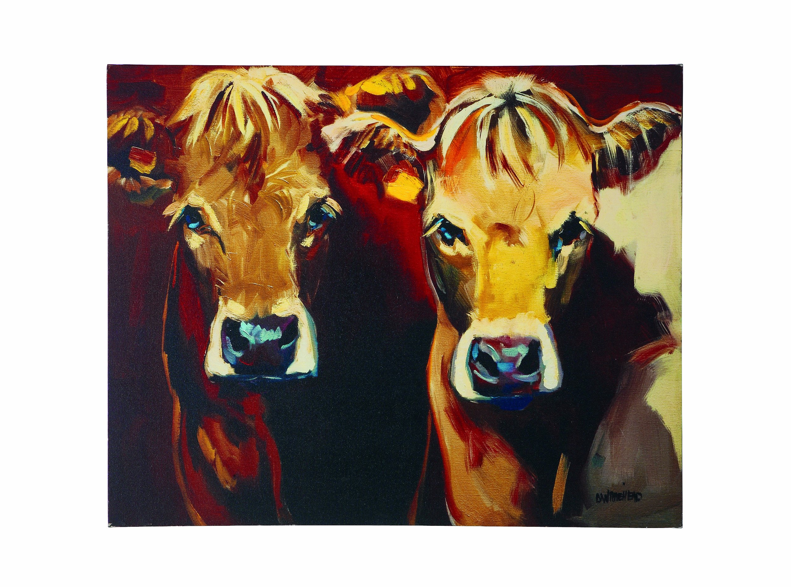 Creative Co-op 2 Cows Canvas Wall Décor - Gallery-wrapped canvas print Includes saw tooth hardware for hanging Combination of red, brown, black, yellow & blue colors - wall-art, living-room-decor, living-room - 9195njmK47L -