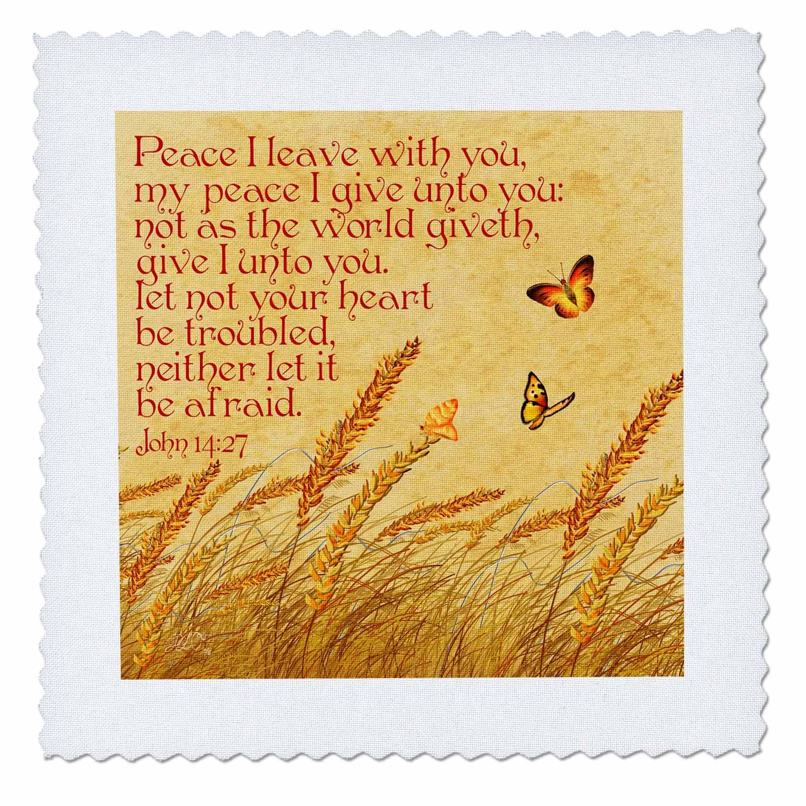 3dRose Dream Essence Designs-Bible Quotes - Bible quote John Jesus said Peace I give unto you, meadow background - 22x22 inch quilt square (qs_262335_9) by 3dRose